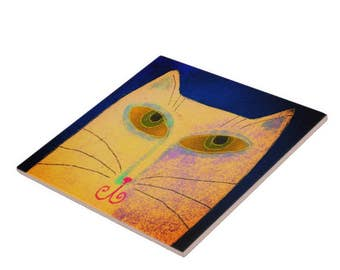Funky Yellow Cat Abstract Digital Painting Printed on Ceramic Tile
