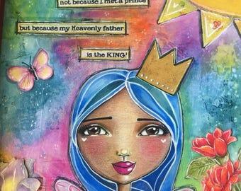 I Am a Princess / Mixed Media / Print / Art for a Girl's Room /