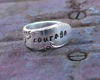 Courage Spoon Ring, Posey Ring, Hand Stamped, Custom Sizing