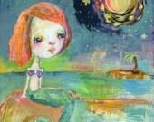 Mystic Mermaid - mixed media art print by Mindy Lacefield