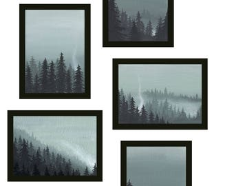 ACEO Art Card Print Collection - The Forest - 5 Forest paintings
