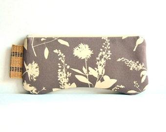 Clutch Purse Zipper Pouch Women's Handbag Wildflowers in Stone Joel Dewberry Ginseng