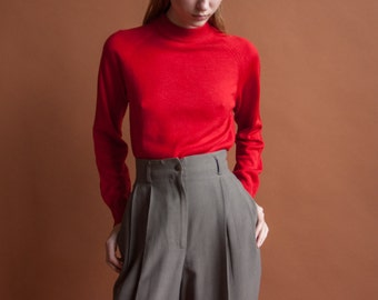 70s wool blend mock neck sweater / long sleeve turtleneck sweater / minimalist knit top / s / 2130t / B21
