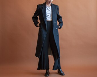 menswear navy blue wool overcoat / oversized structured coat / double breasted winter minimalist coat / s / m / 2144o / R3