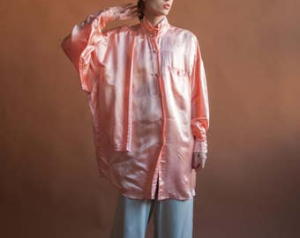 peach pink oversized satin shirt dress / layered storm flap blouse dress / oversized dress / s / m / 2207t