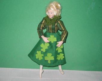 Dollhouse miniature Saint Patrick's Day dress wearable handstitched