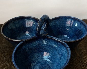 Three Bowl Cobalt Blue Condiment Server Wheel Thrown Pottery Ready to Ship