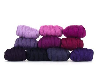 ON SALE Very Berry Merino Variety Pack - 10 colors - 25 grams each color = 250 grams or 8.8 oz total to Spin, Felt, Card, Fiber Art
