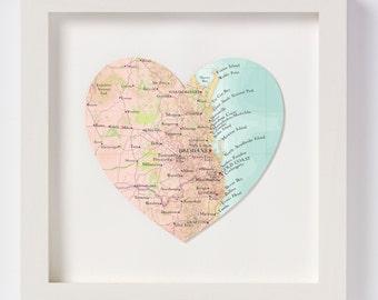 Brisbane Map heart Print - framed