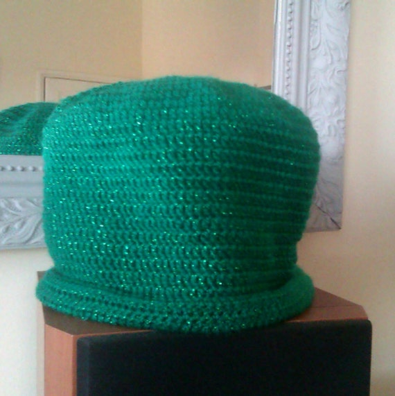 Sparkly Green Yarn Crocheted Beanie Hat - cosy winter hat