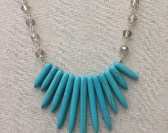 Turquoise spike collar statement necklace