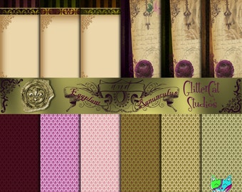 """Eggplant and Ranunculus 8.5"""" x 11"""" Digital Printable Scrapbook Papers Victorian Chabby Chic original purple and moss green designs"""