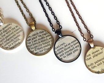 Love Themed Shakespeare Necklace - Recycled Book Jewelry - Theater Necklace Salvaged Book