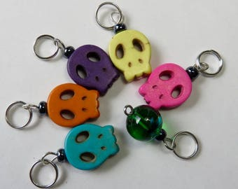 Hand Made Stitch Markers -- Dyed Howlite Stone Alien Skulls -- Take Me To Your Leader