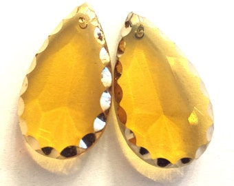 Vintage glass drops (2) Amber glass topaz glass pendant drop charm Czech faceted beveled pear teardrop tear  (2)