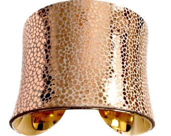 Rose Gold Metallic Leather Cuff Bracelet  - by UNEARTHED