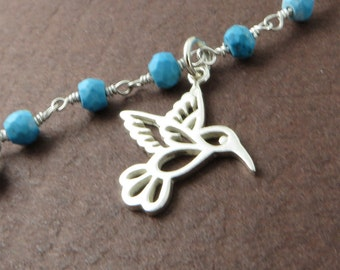 Sterling Silver Hummingbird Bracelet Silver Bird Jewelry Blue Turquoise Gemstone Chain Birthday Gift under 50