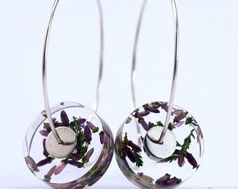 Purple Heather Earrings, Romantic Floral Resin Earrings in Sterling Silver, Summer Earrings, Resin earrings, Resin Jewelry