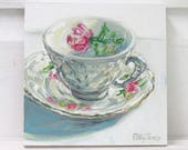 Reserved Rose Teacup original acrylic mixed media painting by Polly Jones