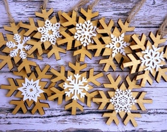 100 Christmas wedding favours: Rustic natural wood double snowflake ornaments / decoration, laser cut