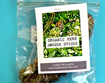 ORGANIC HERB two smudge sticks, sage, lavender,lemon balm,thyme, rosemary,garden,incense