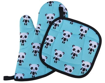 Panda Oven Mitt and Pot Holder Set