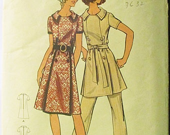 1970s Vintage Sewing Pattern Butterick 6283 Misses Dress or Tunic & Pants Pattern Size 10 Bust 32 1/2