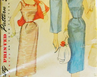 1950s Vintage Sewing Pattern Simplicity 4598 Misses One-Piece Dress & Jacket Pattern Size 14 Bust 32