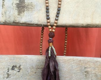 Coffee and Wood and Silk Sari Tassel BoHo Inspired Necklace