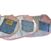 Set Of Six Denim Placemats With Jeans Pocket And Napkins