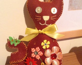 Brown Felt Cat, Felt Cat Ornament, Cat Lovers Gift, Cat Ornament, Plush Cat Ornament