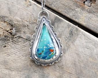Little Birdie Teardrop Pendant / Modern Jewelry