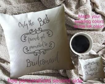Bridesmaid pillow, bridesmaid gift, personalized bridesmaid gift, 2 sided, wedding party gift, maid of honor gift