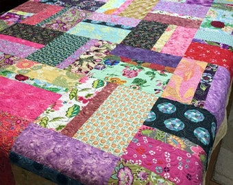 "Handmade Patchwork Double Bed Quilt Designer Medley 82"" x 96"" in green, purple, pink, white, beige"