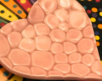 "Ceramic Stoneware Trinket Ring Dish Heart 3.5"" Cherry Blossom Pink Cobblestones Wedding Favors Ready to Ship"