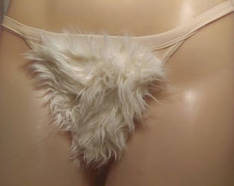 Size Medium Merkin Thong Back White Faux Fur Vagina Pubic Hair Wig Merkin21
