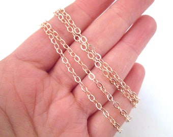 Soldered Rose Gold Plated Flat Cable Cross Chain, C029Y