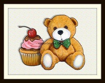 Teddy Bear with Cupcake, Polka Dotted Bow Tie, Cute, Whimsical, Pink Icing, Cherry on Top, Nursery Decor, Original Art, Free Shipping