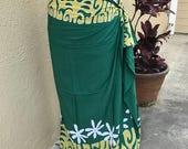 Dark green , lime green and white tattoo tiare premium Tahitian pareo, full or half sized sarong, Polynesian dance costume