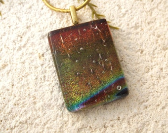 Dichroic Pendant, Burgundy Gold Green Necklace, Fused Glass Jewelry, Glass Pendant Necklace, Dichroic Jewelry, Gold Necklace, 103016p105
