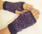 Knit Fingerless Mittens - Purple