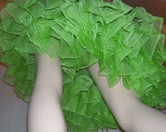 Vintage Sheer Green Net Crinoline Mardi Gras Costume Slip Petticoat vtg Tutu Petticoat Halloween Square Dance Skirt Apple Adult S M L