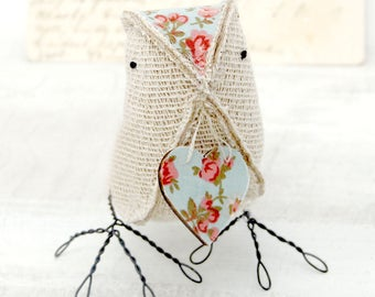 Cute Burlap Bird with Heart Mothers Day Gift