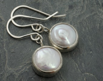 Pearl Moon Earrings. June Birthstone Jewelry. Freshwater Pearl Sterling Silver Earrings. Pearl Disk Cabochon
