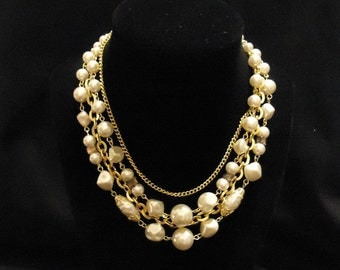 Multi Strand Cream Gold Necklace Beige Off White Plastic Resin Beads Gold Chains Clasp Four Strands Japan 1960's Vintage Costume Jewelry