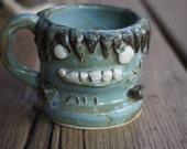Hand thrown ceramic baby Frankenstein espresso cup