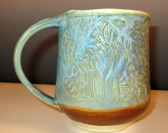 Handbuilt Mug with Botanical Texture in Layered Fern and Amber