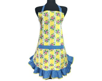 Yellow Floral Kitchen apron with Blue Ruffle , Retro Style Kitchen Decor , Blue and Pink Flowers / Flirty / Pin Up Girl