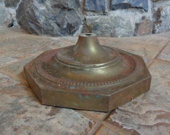 "Vintage Rusty 10-1/4"" Octagon Pressed Metal Floor Lamp Base Cover Only Restoration Repurpose"