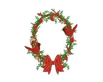 Whimsical Cardinal Christmas Bow Flower Wreath Machine Embroidery File design 5x7 inch hoop